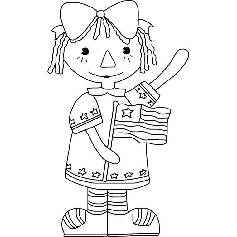 Raggedy Ann With Flag - 4th Of July Coloring Page