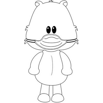 Teddy Bear Standing with Mask