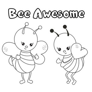Bee Awesome Coloring Page