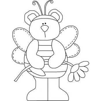 Happy Bee Coloring Page