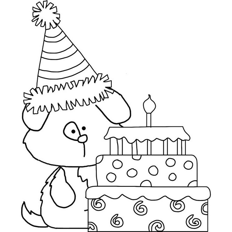 Puppy with Birthday Cake: Happy Birthday Coloring Page