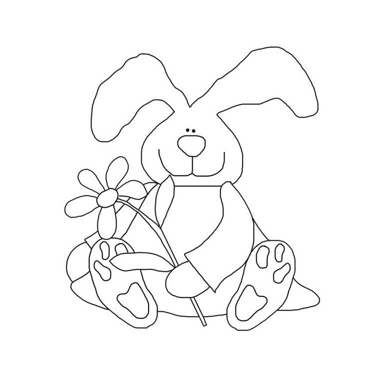 Daisy Bunny Coloring Page Rabbit With Flower Coloring Buddy