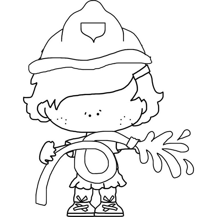 Fire Fighter Coloring Page: Cutest Girl Firefighter To Color