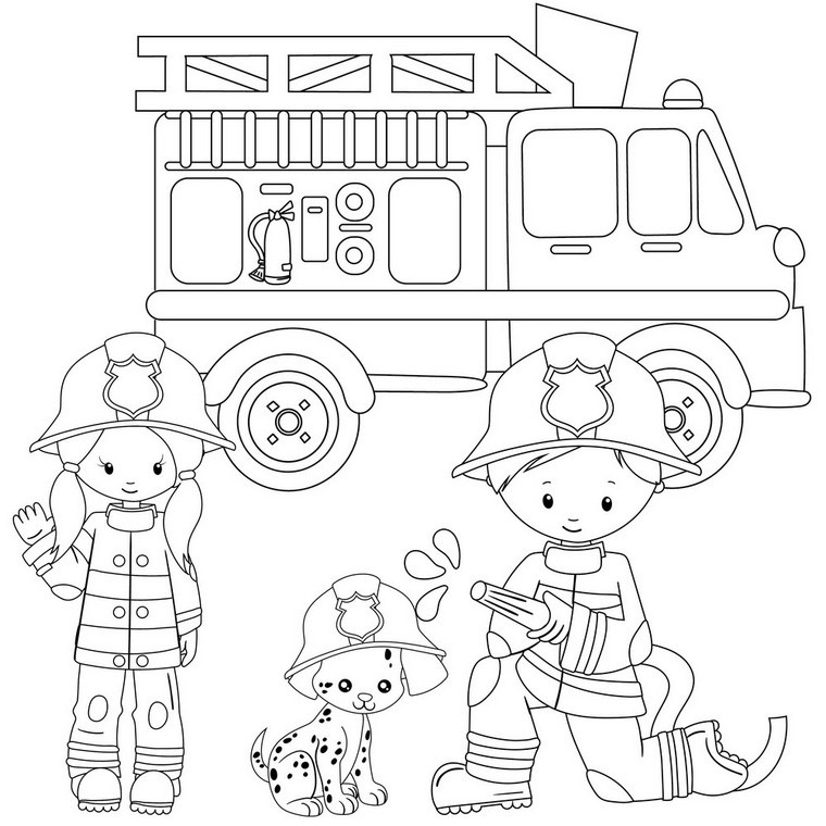 Popular Firefighters Coloring Page - Enjoy At Coloring Buddy