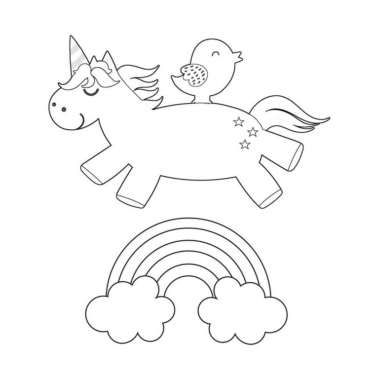 Popular Rainbow & Unicorn Coloring Page - Jumping Unicorn
